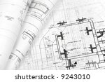 architectural blueprint... | Shutterstock . vector #9243010