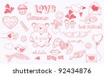 doodle love related elements... | Shutterstock .eps vector #92434876