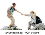 Hiking Woman Helps Her Friend...