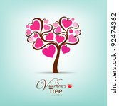 valentine's day tree  vector...