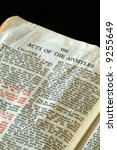 Small photo of Bible Series. close up detail of antique holy bible open to the gospel according to the acts of the apostles in the new testament