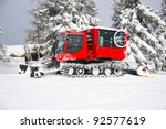 Red Snow Groomer In The...