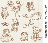hand drawn toys collection in... | Shutterstock .eps vector #92793859