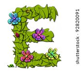 """e  in the alphabet set """"flower...   Shutterstock . vector #92820091"""