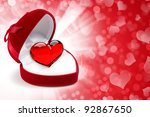 red velvet heart shaped gift... | Shutterstock . vector #92867650