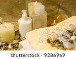 Spa products and candles, all natural products - stock photo