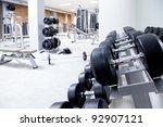 fitness club weight training... | Shutterstock . vector #92907121