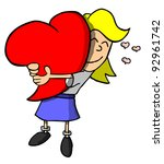 Light skinned girl hugging giant heart - stock photo