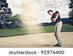 male golfer in blue shirt and... | Shutterstock . vector #92976400
