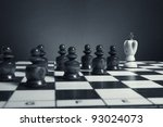 chess. black pawns pursue the... | Shutterstock . vector #93024073