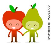 A pair of friendly fruit, an apple and pear, standing holding hands, illustration cartoon characters. - stock vector