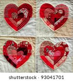 Block of four quilted red and white Valentine hearts - stock photo