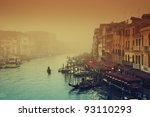 Grand Canal at a foggy evening. - stock photo