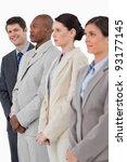 smiling salesman standing next...   Shutterstock . vector #93177145