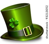 illustration green St. Patrick's Day hat with clover - stock photo
