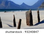 Shipwreck abstract with mountains near Cape Town - stock photo