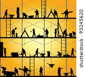 construction worker silhouette... | Shutterstock .eps vector #93245620
