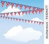 Union Jack bunting on cloud background with space for your text. EPS10 vector format - stock vector