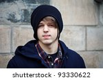 Portrait of a young handsome man outdoors . - stock photo