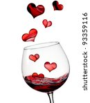 Hearts Flying In Glass With Re...