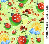 seamless with mushrooms and... | Shutterstock .eps vector #93372136