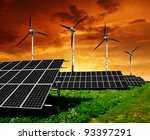 solar  panels and wind turbine... | Shutterstock . vector #93397291
