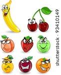 cartoon orange  banana  apples  ... | Shutterstock .eps vector #93410149