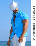 handsome man in white hat by... | Shutterstock . vector #93415165