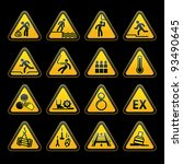 set triangular warning sumbol ... | Shutterstock . vector #93490645