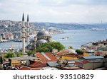 View of Yeni Mosque, Bosphorus and districts Eminonu and Beyoglu in Istanbul, Turkey - stock photo