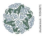 celtic ornament of three horses.... | Shutterstock .eps vector #93543871