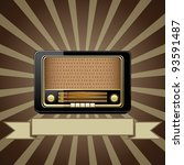 Vector retro background with old radio - stock vector