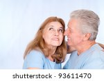 pretty old couple posing on a... | Shutterstock . vector #93611470