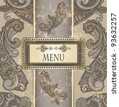 vector menu with paisley... | Shutterstock .eps vector #93632257