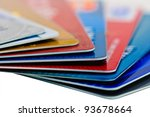Close-up picture of a credit cards as a background. - stock photo