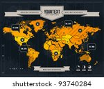 Vector world map with grunge and infographic elements. - stock vector