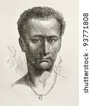 Small photo of Enticho peasant old engraved portrait (Abyssinia). Created by Bayard after Lejean, published on Le Tour du Monde, Paris, 1867