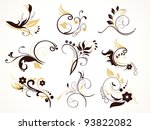 abstract floral set  vector... | Shutterstock .eps vector #93822082