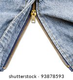 Closeup of zipper in blue denim. - stock photo