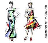 fashion models. sketch. | Shutterstock .eps vector #93902398