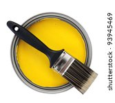 yellow paint with paint brush... | Shutterstock . vector #93945469