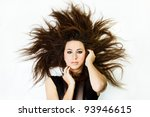 Small photo of Beautiful Fashion Model with Big Hairstyle