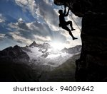 climbers in the swiss alps | Shutterstock . vector #94009642