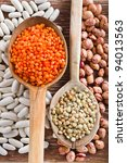 Beans, Lentils with Wooden Spoon - stock photo