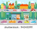 city life scene with bus stop   ... | Shutterstock .eps vector #94243399