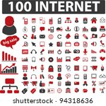 100 internet icons set  vector | Shutterstock .eps vector #94318636