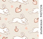 Rabbit seamless pattern - stock vector