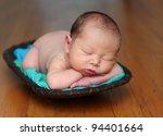 newborn baby in a wood bowl ... | Shutterstock . vector #94401664