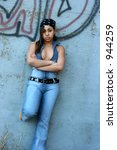 young lady posing in urban... | Shutterstock . vector #944259