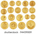 gold coins collection   vintage ... | Shutterstock .eps vector #94459009